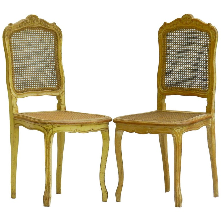 Pair of 19th Century Side Chairs French Louis XV Revival Original Paint Caned