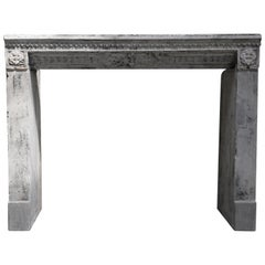 Antique Fireplace of French Limestone, Louis XVI, 18th Century