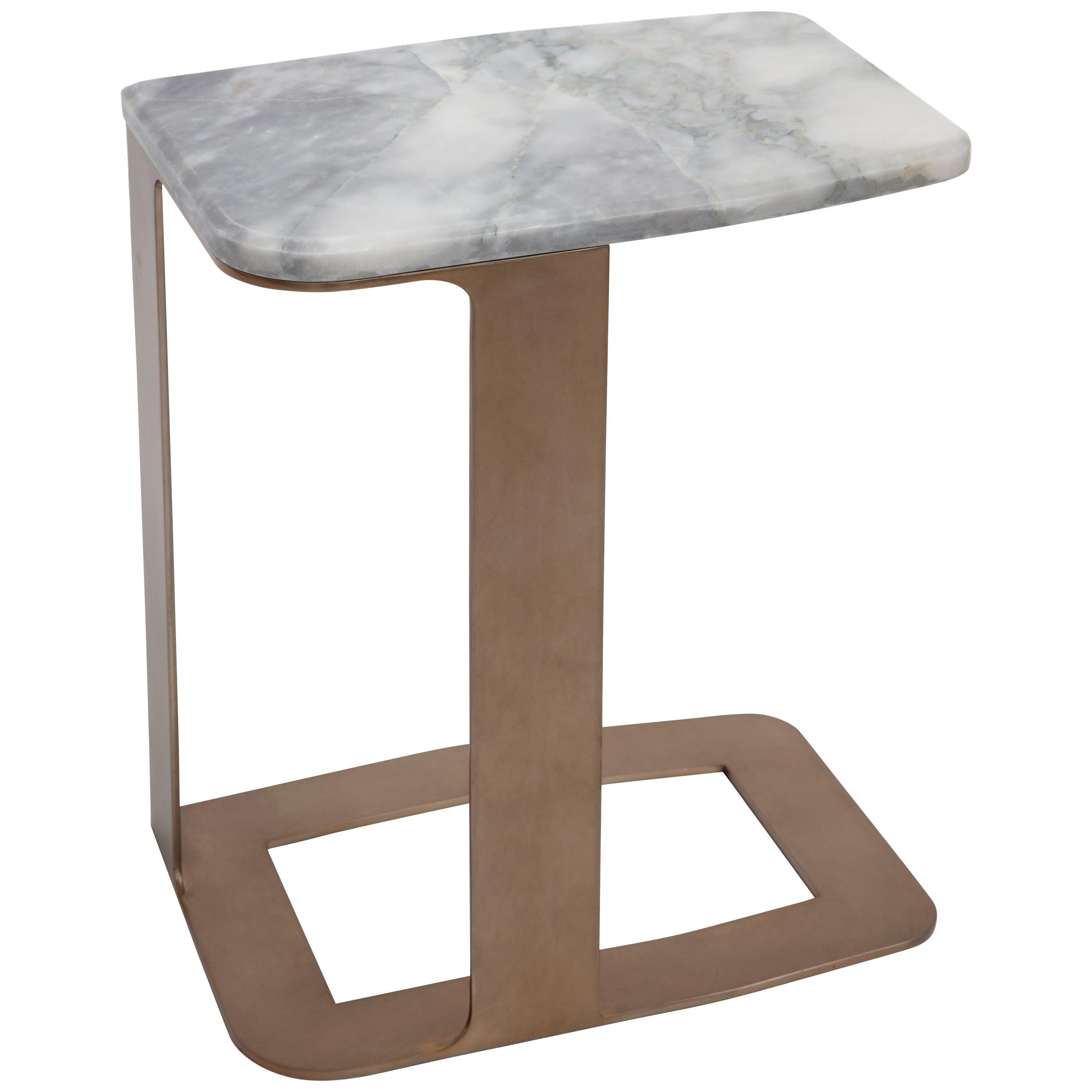 Awesome Tuya Drink Table, Contemporary Side Table In Marble And Bronze Patina Finish