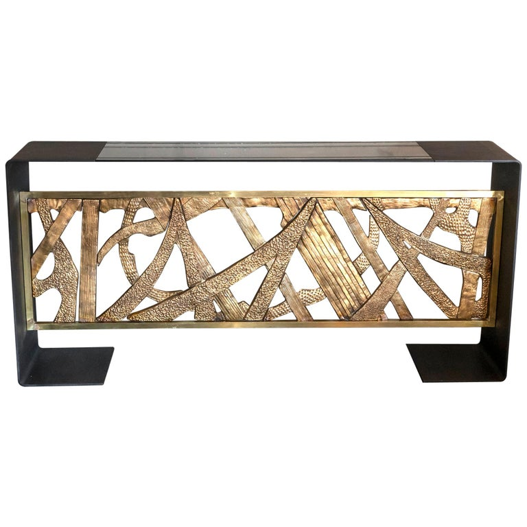 Contemporary Steel Console with 1968 Luciano Frigerio Bronze Frieze, Italy