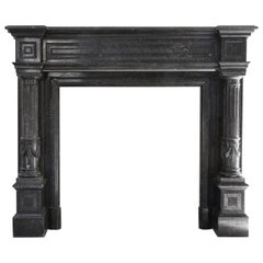 Very Unique Antique Fireplace of Belgian Bluestone, Neoclassical Style