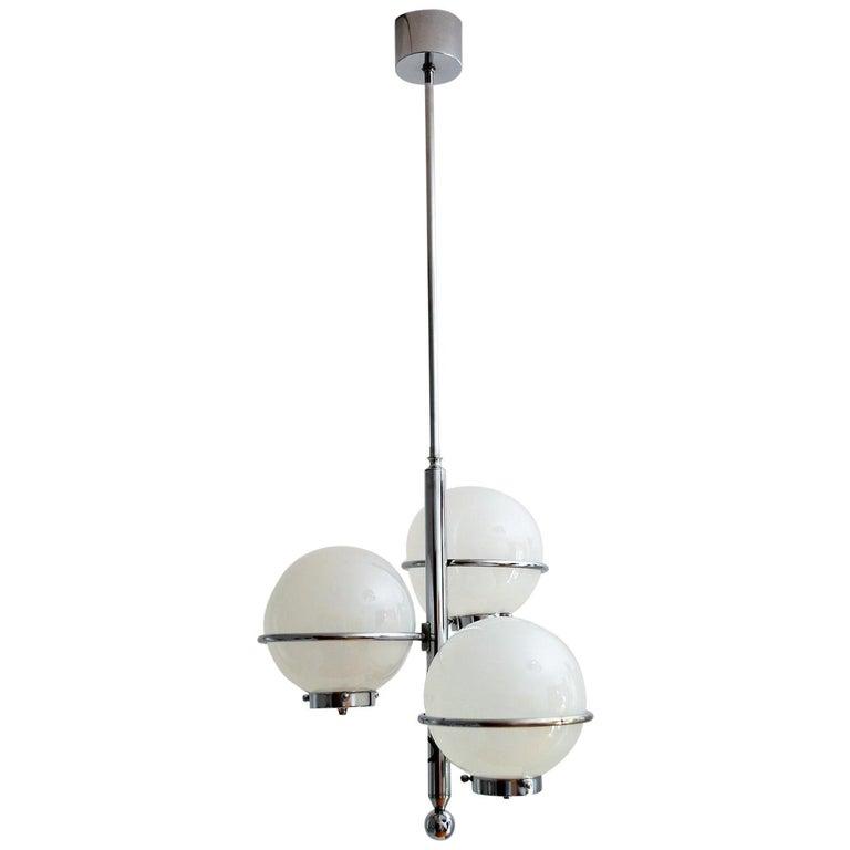 Italian Chrome Pendant with Murano Glass Globes, 1960s