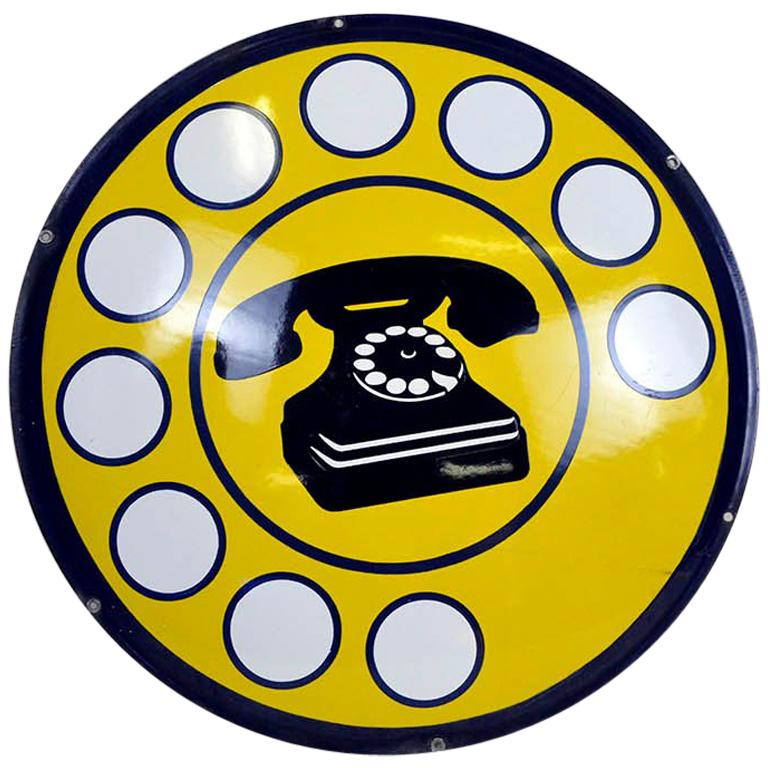 1970s Yellow Curved Enamel Metal Vintage Italian Telephone Sign, Sip