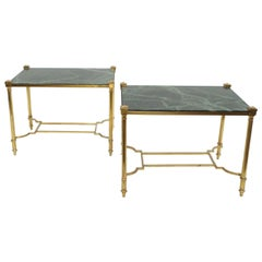 Pair of Gilt Brass and Green Marble-Top Side Tables, circa 1970