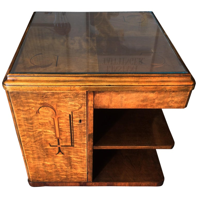 Art Deco Coffee Table Bookcase Dry Bar Cocktail Cabinet