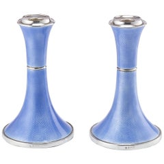 Pair of Art Deco Silver and Guilloche Enamel Candlesticks, Birmingham, 1920