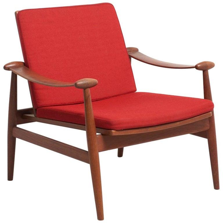 Spade Red Lounge Chair by Finn Juhl for France & Daverkosen