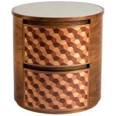 21st Century Marquetry Wood Veneer Geometric Nightstand