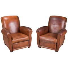 Stunning 20th Century French Pair of Sheepskin Leather Club Armchairs