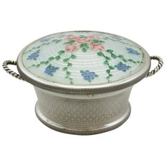 Antique Sterling Silver and Enamel Trinket Box by Levi and Salaman