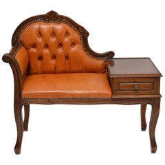 Elegant Old Baroque Chesterfield Phone Bench with Leather and Wood