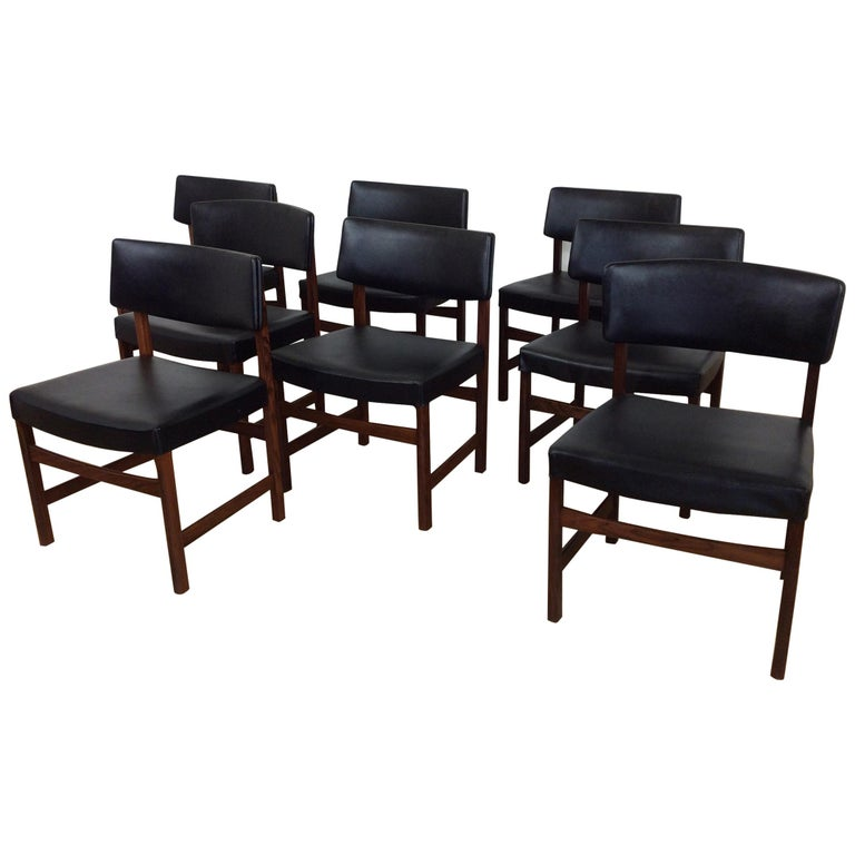 Midcentury Rosewood Dining Chairs, Set of Eight