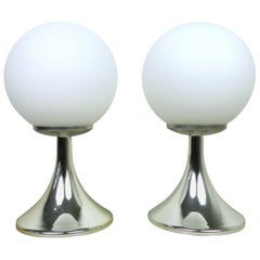 Pair of Table Lamps with Chromed Tulip Bases, Germany, 1960s