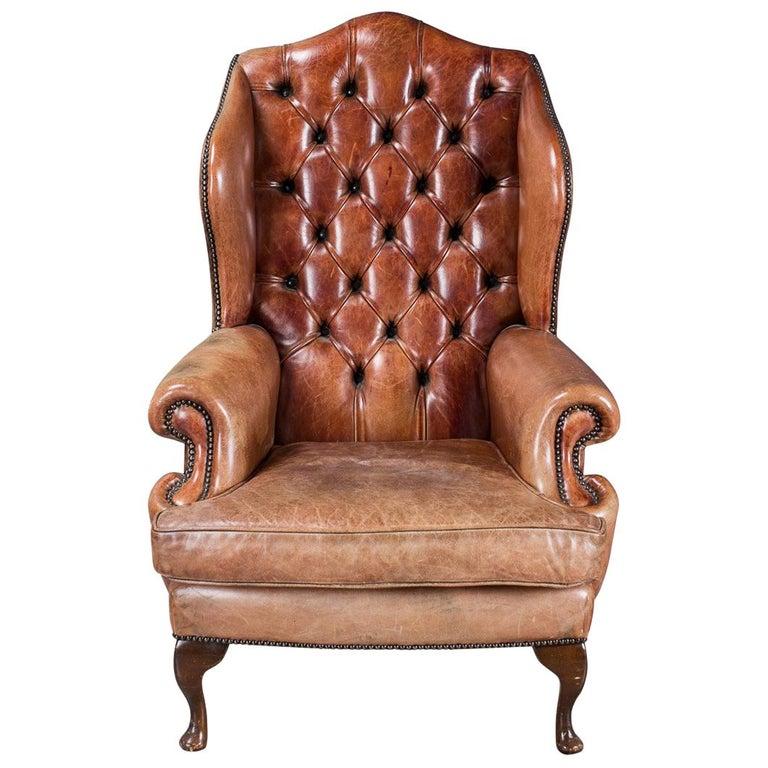 Stunning 20th Century English Sheepskin Leather Wing-Back Armchair, circa 1950
