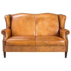 Beautiful 20th Century Dutch High Back Honey Colour Leather Sofa, circa 1990