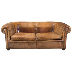 Beautiful Dutch Rich Tan Leather Sofa, circa 1960