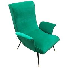Italian Midcentury Green Armchair