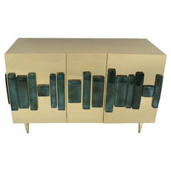 L.A. Studio Sideboard Designed in Brushed Brass and Murano Green Glass, Italy