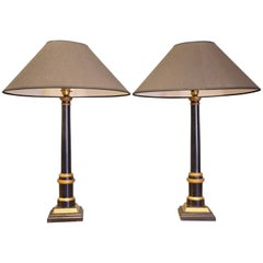 Pair of Modern Ebonised and Gilt Table Lamps