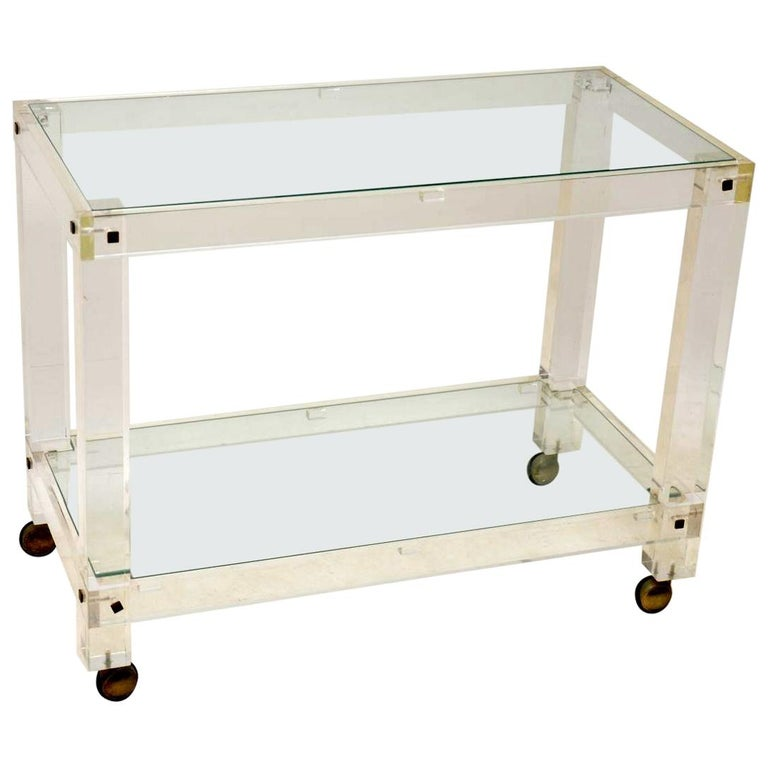 1970s Vintage Lucite and Glass Drinks Trolley