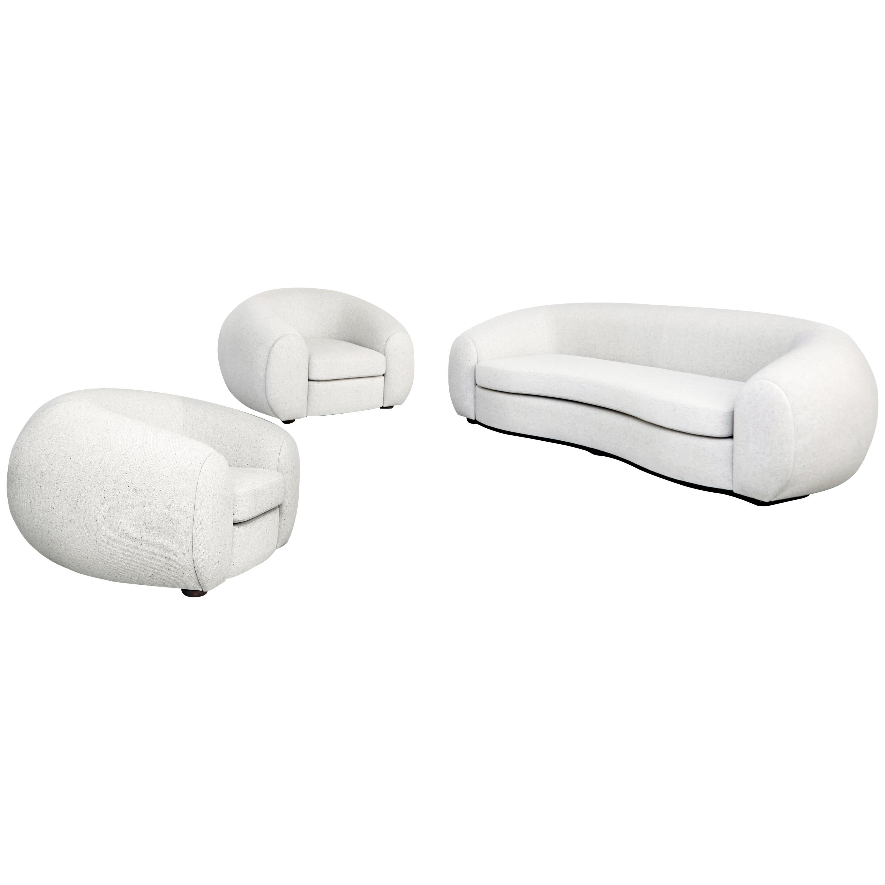Mid Century Modern White Upholstered Sofa And Pair Of Armchairs