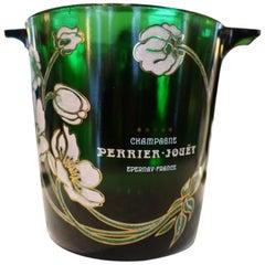 Green Glass Champagne Cooler, Perrier Jouët