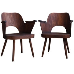 Lubomír Hofmann Chairs for TON, 1960s, Beechwood Finished in Oil, Midcentury