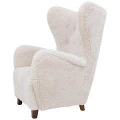 Easy Chair in Lambs Wool by Danish Cabinetmaker