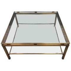 Brass Square Coffee Table with Cut Glass Shelves by Maison Jansen, 1970s