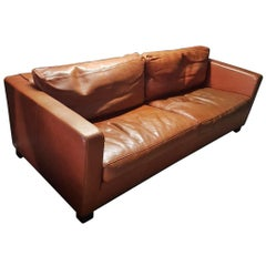 Cognac Thick High Quality Leather Two-Seat Sofa by Molinari 'Marked', 1990s
