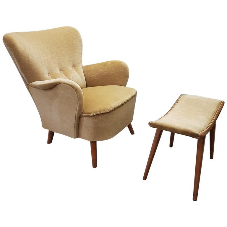 Velvet Lounge Chair with Ottoman by Theo Ruth for Artifort, 1950s