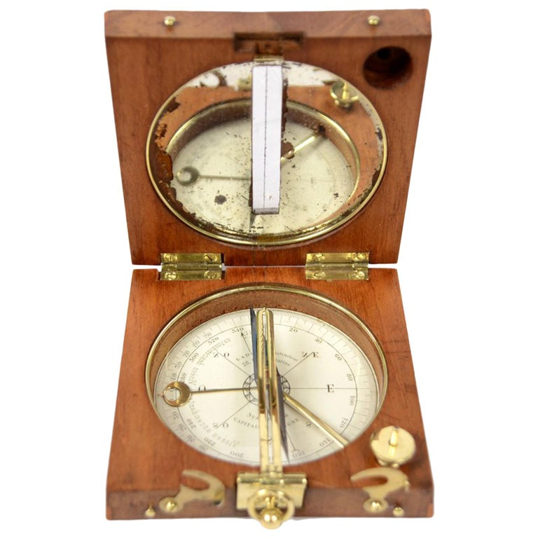 French Magnetic Compass for Topographers Made of Oak and Brass