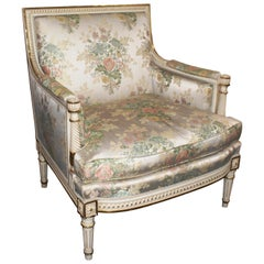Quality Carved Wood Cream and Gilt Floral Upholstered Armchair
