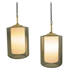 Pair of Rare Smokecolored Pendants with Inner Glass Core, Høvik, 1965, Norway