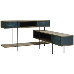 Contemporary Console in Etched Brass with Pivoting Doors and Stone Elm Shelves