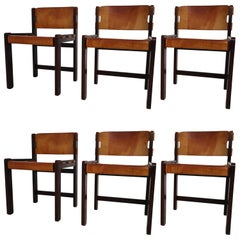 Set of Six Dining Chairs in Gorgeous Thick Cognac Saddle Leather in Oak