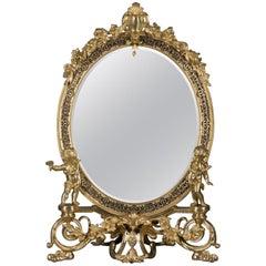 Fine Napoleon III Gilt-Bronze and Niello Oval Dressing Mirror