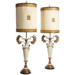 Large Decorative Pair of French Painted and Gilt Floor Lamps