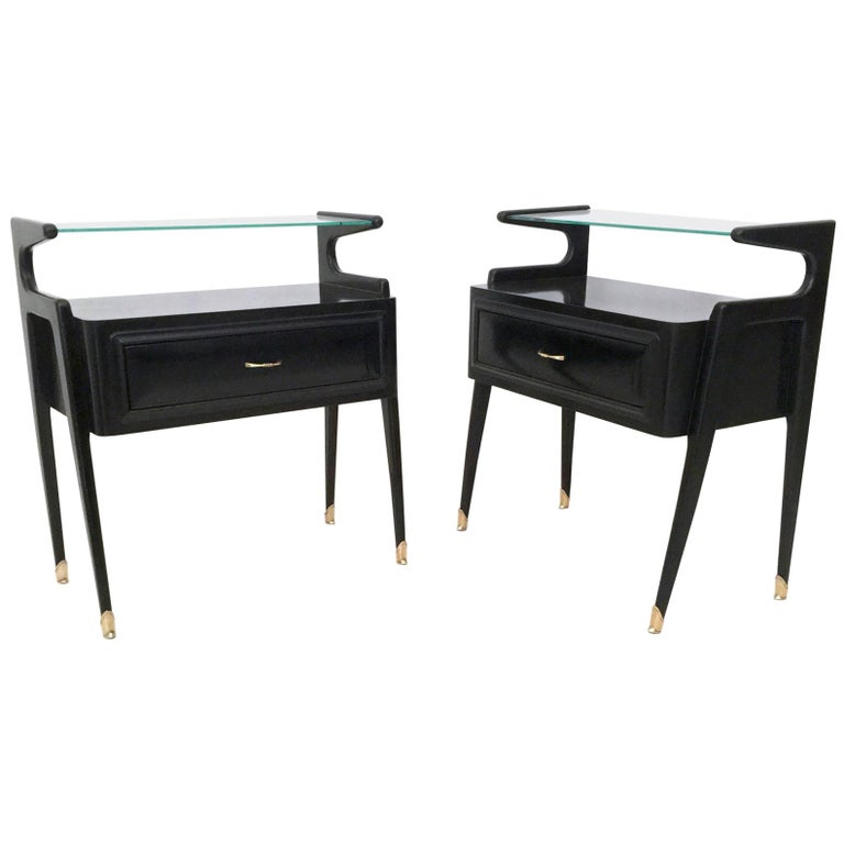 Pair of Ebonized Wood Nightstands with a Glass Top, Italy, 1950s