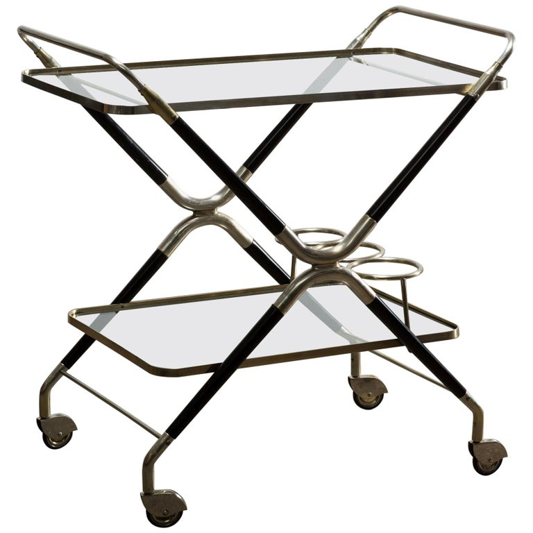 Vintage Italian Midcentury Bar Cart Designed by Cesare Lacca, 1940 For Sale