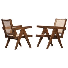 1950s Brown Wooden Teak and Cane Lounge Chairs by Pierre Jeanneret 'b'