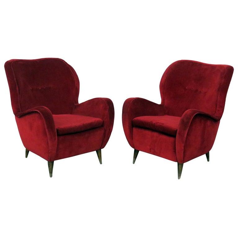 Pair of Gio Ponti Style Italian Modern Lounge Chairs
