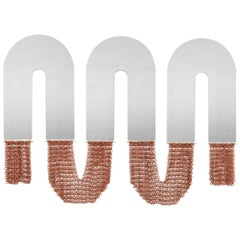 Contemporary Ceramic Chainmail Arched Mirrors Set in Terra Cotta