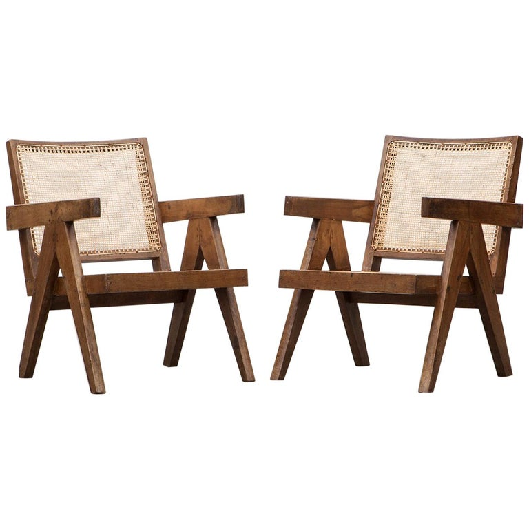1950s Brown Wooden Teak and Cane Lounge Chairs by Pierre Jeanneret 'c'