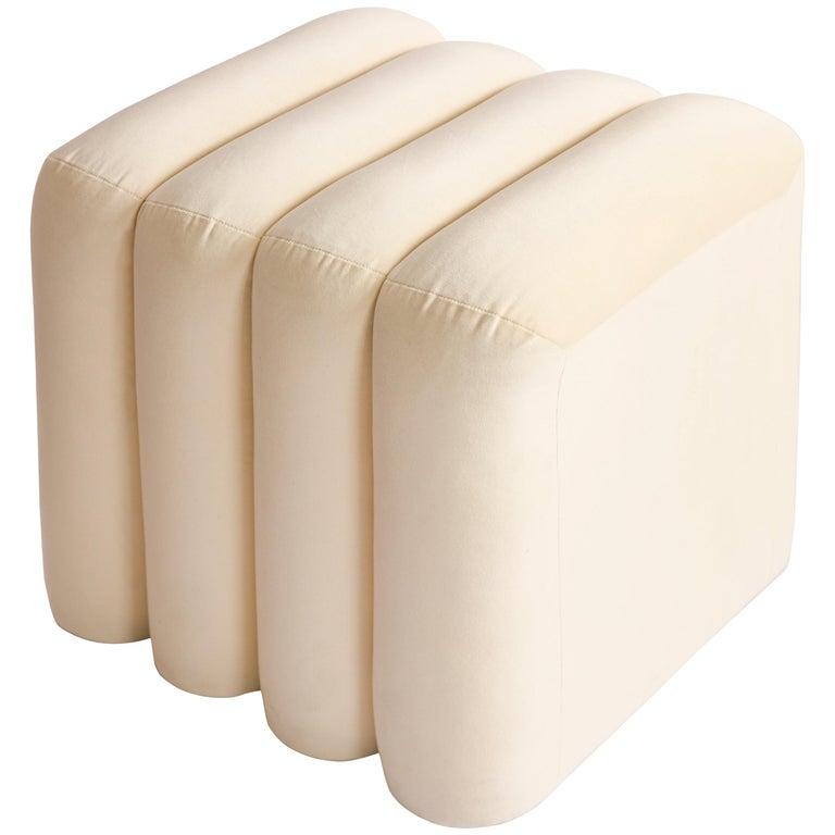 Contemporary Bb Stool Upholstered '100% Cotton Velvet in Cream'