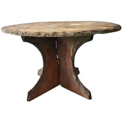 Rough Slate Stone Terrace or Side Table, 1950s