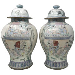 Pair of Canton Enamel Vases and Covers