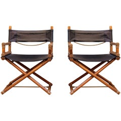 Italian Oak Wood Director's Chairs, Pair of Two, 1970s