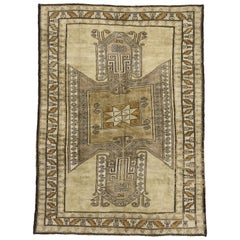 Vintage Turkish Oushak Kars Rug with Modern Tribal Style