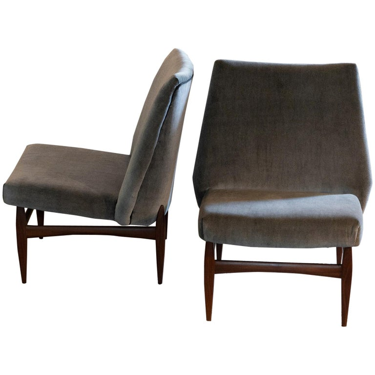 Pair of Grey Velvet Lounge Chairs, Wood Base, Italy, 1950s